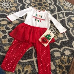 Toddler girls Christmas outfit&hair clips🎄🎁